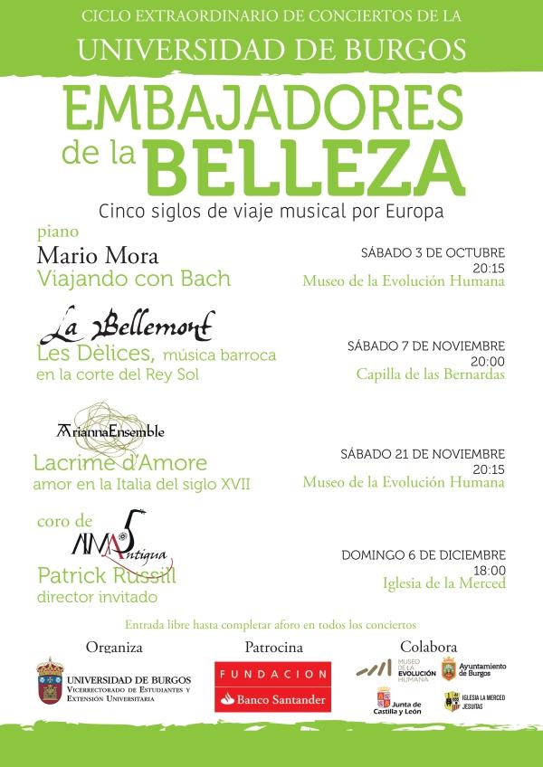 Cartel para el ciclo de conciertos Embajadores de la Belleza, organizado por la Universidad de Burgos